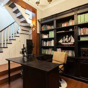 室内书房实木书桌书柜