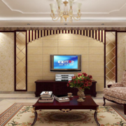 100平米大户型现代简约客厅背景墙装修效果图