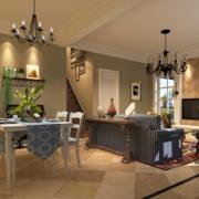 2016别墅型美式客厅装修风格样板房效果图鉴赏
