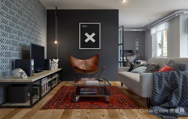 高冷范儿十足都市单身小公寓装修效果图