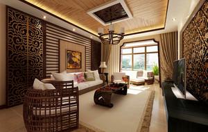 东南亚客厅生态木装饰