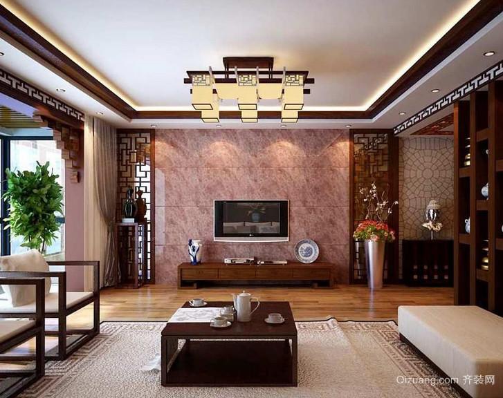 唯美都市经典大户型中式室内客厅装修效果图