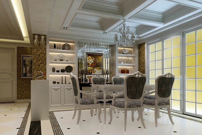 144平米家居餐厅简约欧式酒柜效果图图片