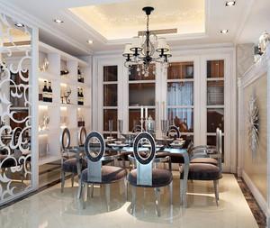 现代欧式大别墅餐厅酒柜效果图