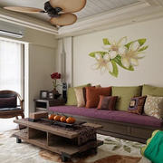 东南亚客厅沙发背景墙
