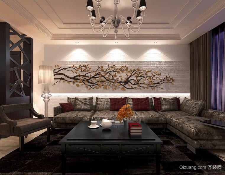 艺术人生:新古典风格客厅背景墙装修图