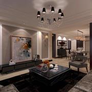 现代两居室新古典风格客厅装修效果图