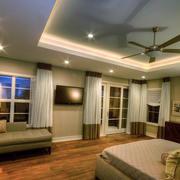 美式现代家庭24平米卧室窗帘效果图