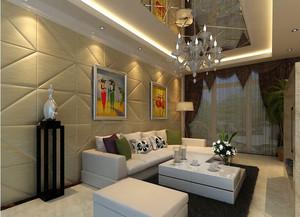 米黄色现代120平米客厅软包背景墙图片