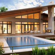 郊区豪宅别墅简约游泳池装修设计效果图