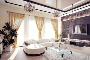 后现代风格100平米家庭客厅窗帘效果图