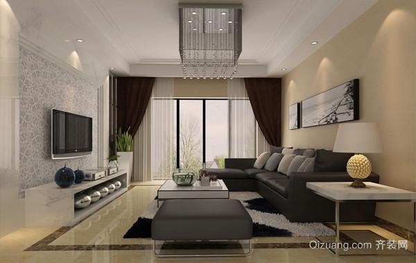温馨都市25平米客厅布艺窗帘装修效果图