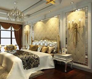 欧式风格复式楼卧室软包背景墙图片