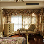 田园欧式风格大户型家庭卧室窗帘效果图