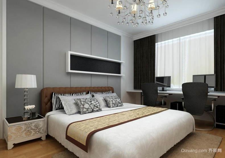 18平米简约小卧室灰白色软包背景墙图片