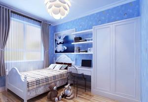 蓝色梦幻两室一厅清新卧室装修设计效果图