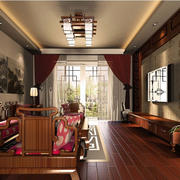 中式小户型老年人家庭客厅窗帘效果图
