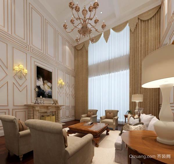 混搭风格小复式楼家庭客厅窗帘效果图
