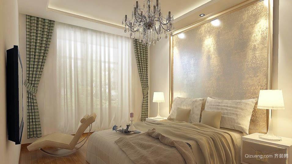 现代朴素两居室家庭卧室窗帘效果图