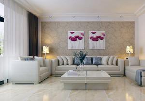 2016大户型欧式精美客厅装修背景墙壁纸效果图