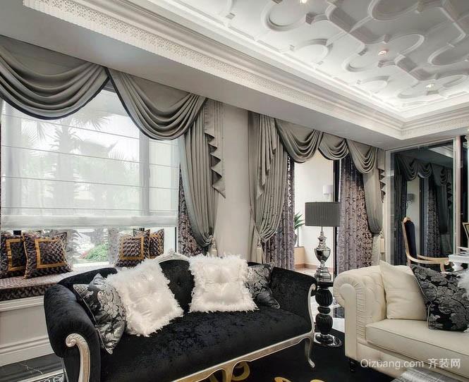 新古典豪华160平米家庭客厅窗帘效果图