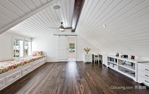 2016精美的现代欧式斜顶阁楼室内装修效果图