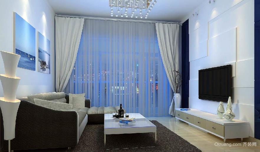 2016都市80平米家庭客厅窗帘效果图