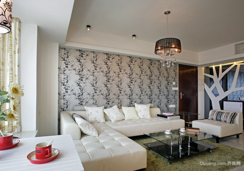 现代家装客厅沙发背景壁纸效果图片大全