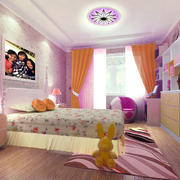 粉紫色90后女生家装卧室壁纸效果图大全