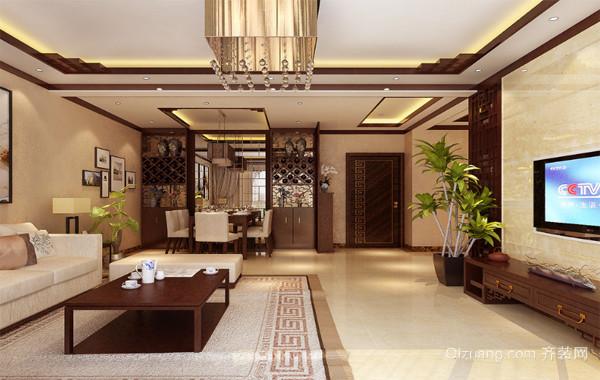 2016大户型现代中式室内客厅吊顶家装效果图