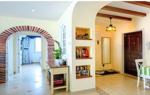 水蓝色田园风格三室一厅装修效果图片