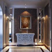 新古典简欧复式楼玄关设计装修效果图