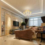 90平米大户型简欧风格客厅电视墙装修效果图