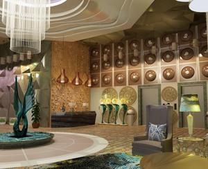 充满艺术感的度假酒店大堂设计效果图