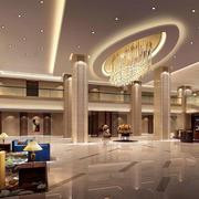 简约高级商务酒店大堂设计效果图