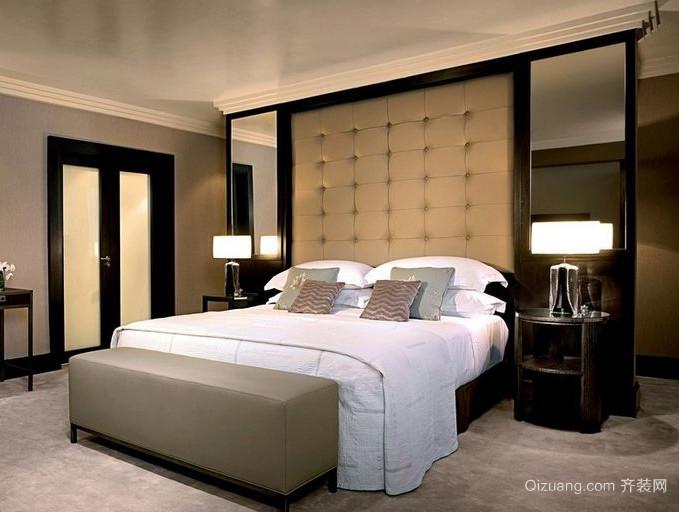 80平米小户型欧式卧室床头背景墙装修效果图鉴赏