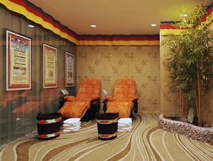 2016精致的现代足疗店沙发背景墙装修效果图