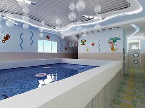 炫丽多彩的现代都市儿童游泳池设计装修效果图