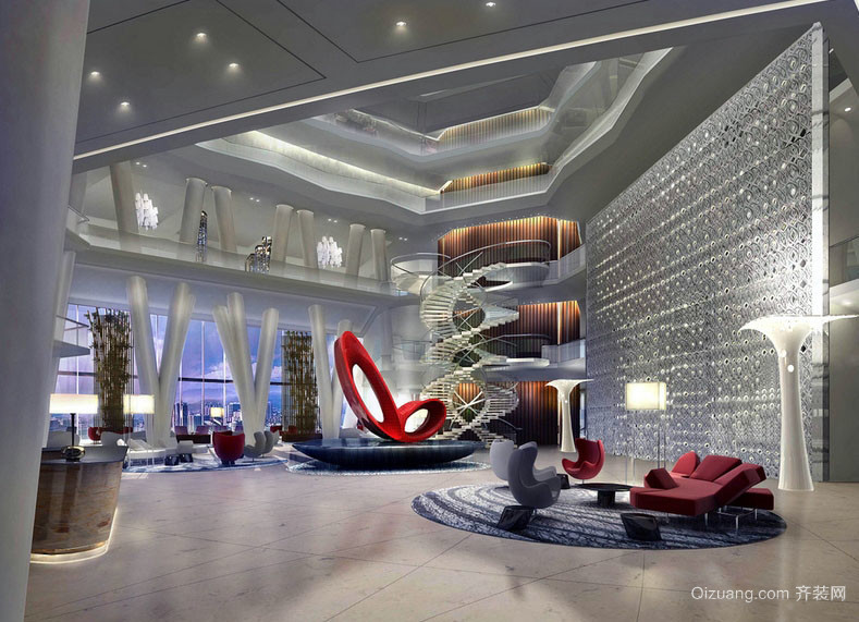时髦个性五星级酒店大堂设计效果图