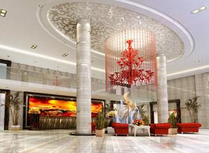 现代高级酒店大堂别致吊灯设计效果图
