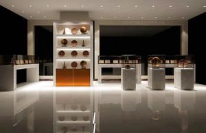 现代大型公司产品展示厅展示柜图片