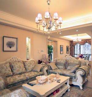 2016大户型现代欧式客厅水晶吊灯装修效果图