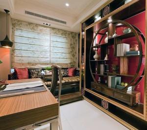 大户型现代精致中式客厅博古架尺寸装修效果图