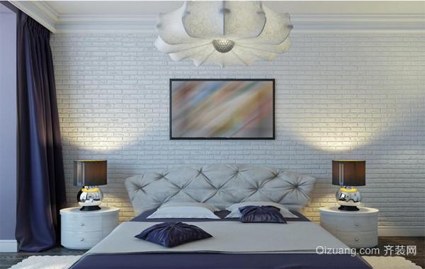 90平米大户型欧式卧室背景墙台灯设计装修效果图