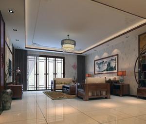 实惠精致的大户型现代中式客厅背景墙装修效果图
