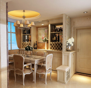 现代都市欧式家庭大户型酒柜装修效果图