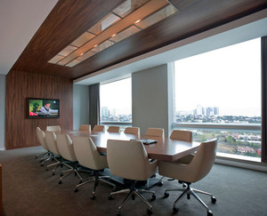 2016精致大方的会议室背景墙吊顶装修效果图