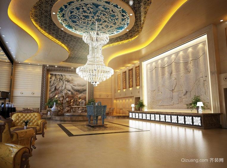 混搭风格高级酒店大堂设计效果图