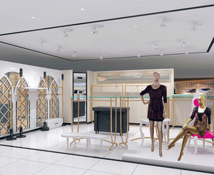 2016唯美的都市现代小服装店吊顶装修效果图