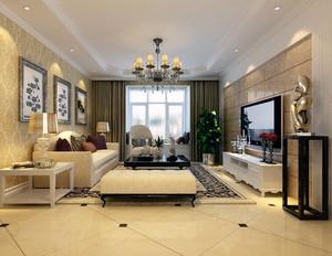 2016大户型唯美的简欧风格客厅背景墙装修效果图